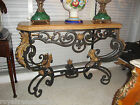 Hand Forged  Wrought Iron Console with Marble Top