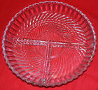 VINTAGE CRYSTAL CUT GLASS DIVIDED APPETIZER DISH - CONDIMENT DISH