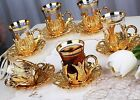 24 Pc Turkish Tea Glasses Set with Holder Handles Saucers Spoons Glass Cups