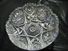 VINTAGE CUT CRYSTAL GLASS BOWL WITH PINWHEEL STAR PATTERN AND SAW TOOTH EDGE