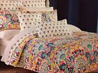 CYNTHIA ROWLEY FLORAL FULL / QUEEN QUILT SET ORANGE GREEN YELLOW RED BLUE