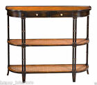 Console Table Black Walnut Rattan Shelf Handmade Faux Bamboo Leg New Ships Free
