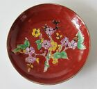 Asian Porcelain Japanese Red Small Plate Delicate Yellow Pink Flowers