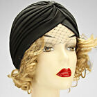 New TURBAN Headband Head Wrap Soft LADY Womens BLACK Fishnet Veil