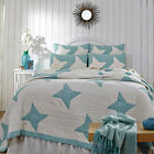 Country Primitive Cottage SUMMERHILL King Quilt VHC Brands - Teal & Creme