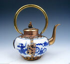 Blue&White Porcelain Gold Gilt Dragon Phoenix Butterfly DECOR Teapot Monkey Lid