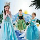 New Frozen Kids Princess Anna and Elsa Masquerade Snow Queen Dress free shipping