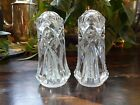 Clear Crystal Pressed Glass Salt and Pepper Shakers