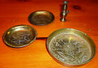 Set of 3 Vintage Small Brass Plates and Lantern