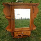 Antique French Carved Wood Medicine Wall Cabinet Apothecary mirror Letterbox