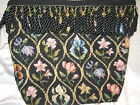 New REFINEMENTS Handmade One-of-a Kind NeedlePoint Fabric Purse-Black w/ Flowers