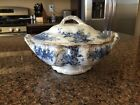 RARE. Burgess and Leigh blue covered vegetable bowl. With gild trim