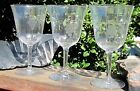 3 Vintage Long Stem Clear Crystal Wine Drink Glasses W Etched Grapes 625 Tall