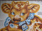Vintage 70s fabric pillow panel MINNIE THE COW cut n sew stuffed animal