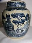 Decrotive Chinese Scenery Old Porcelain Jar w/Cover, Blue/Gray, Very Cool!!!