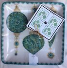 222 Fifth CONSTANTINA TURQUOISE GOLD CHRISTMAS ORNAMENTS Appetizer Plates Set 4