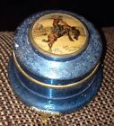 VINTAGE WESTERN ALUMINUM ASHTRAY, POWDER TOP COWBOY ON LID Footed