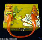 Hinged Wooden Box Purse True Vintage Early 1960s decoupage finish antiqued gold