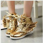 Wing Novelty Womens Lace Up High Top Sneaker Boots Shoes Wedge Heel Gold US7
