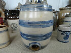 Antique stoneware blue Decorated small striped water cooler-jug