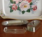 ONEIDA Vintage Mid Century Stainless Steel 18/8 Butter Dish With Glass Plate