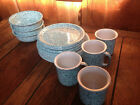CROWN CORNING PREGO GRANITO 16 PIECE DINNERWARE VINTAGE TURQUOISE SET NEW