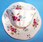 SHELLEY PETITE ROSE BUD WHITE LACE EMBOSSED TEA CUP SAUCER
