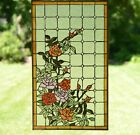 Handcrafted stained glass window panel Rose Flowers  20 x 34
