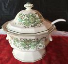 Vintage Ceramic Soup Tureen and Ladle Handpainted Green Floral