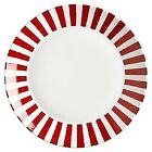 CRATE & BARREL RED AND WHITE STRIPE RIM SERVING PLATTER PLATE LARGE 13 inches