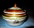 1890s Limoges France Fine Porcelain Powder Box with Wide Band of Gold and Flower