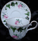 VINTAGE REGENCY BONE CHINA CUP AND SAUCER PINK ROSES & GOLD TRIM, ENGLAND.