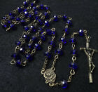 Sapphire Blue Crystal Beads Rosary Catholic Necklace Miraculous Medal Crucifix