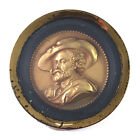 Antique Framed Terracotta Relief Profile Portrait Medallion by HART. F., 19th C.
