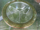 Green Depression Glass Console Bowl, Relish Tray Divided Dish, Vintage FREE SHP
