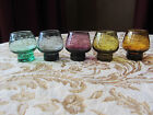5 Vintage Colored Miniature Glasses - Etched w/Flowers & Leaves Beautiful
