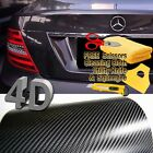 84 x 60 Premium 4D Gloss Black Carbon Fiber Vinyl Wrap Bubble Free Air Release