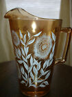 JEANNETTE CARNIVAL MARIGOLD IRIDESCENT GLASS PITCHER WITH WHITE FLOWERS, EC!!