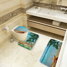 Brand New Beautiful View Toilet Lid Cover And Rug Bathroom Set Home Decorations