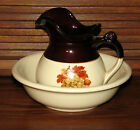 McCoy Pottery Pitcher & Basin Bowl Walnuts,Grapes & Leaves 7515