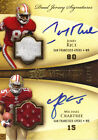 2009 MICHAEL CRABTREE(RC) JERRY RICE DUAL JERSEY AUTO UPPER DECK EXQUISITE 5 10