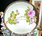 BAVARIA GERMANY HAND PAINTED PRETTY PLATE ROSES & GOLD BANDS SIGNED PLATE