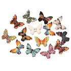 100PCs Wooden Buttons Butterfly Shape Mixed Color 2 hole Sewing Scrapbook DIY
