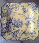 NEW 222 FIFTH ADELAIDE YELLOW TOILE BIRD SQUARE SALAD PLATES SET OF 4