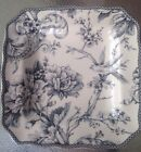 NEW 222 FIFTH ADELAIDE GRAY TOILE BIRD SQUARE SALAD PLATES SET OF 4