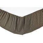 VHC BRANDS BLACK CHECK COUNTRY PRIMITIVE TWIN SIZE BED SKIRT DUST RUFFLE