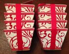 Ciroa Red And White Scroll Velluto Square Appetizer Bowls Set Of 8