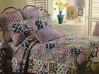 Cynthia Rowley 1 Piece Full/Queen Quilt - Multi Color Patchwork on White Backgro