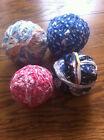 4 Vintage Primitive Fabric Quilters Balls Decorating Rag Rug Antique BLUE/RED#2