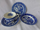 VTG BLUE WILLOW JAPAN TRANSFERWARE STONEWARE CUP SAUCER BOWL PLATE SET